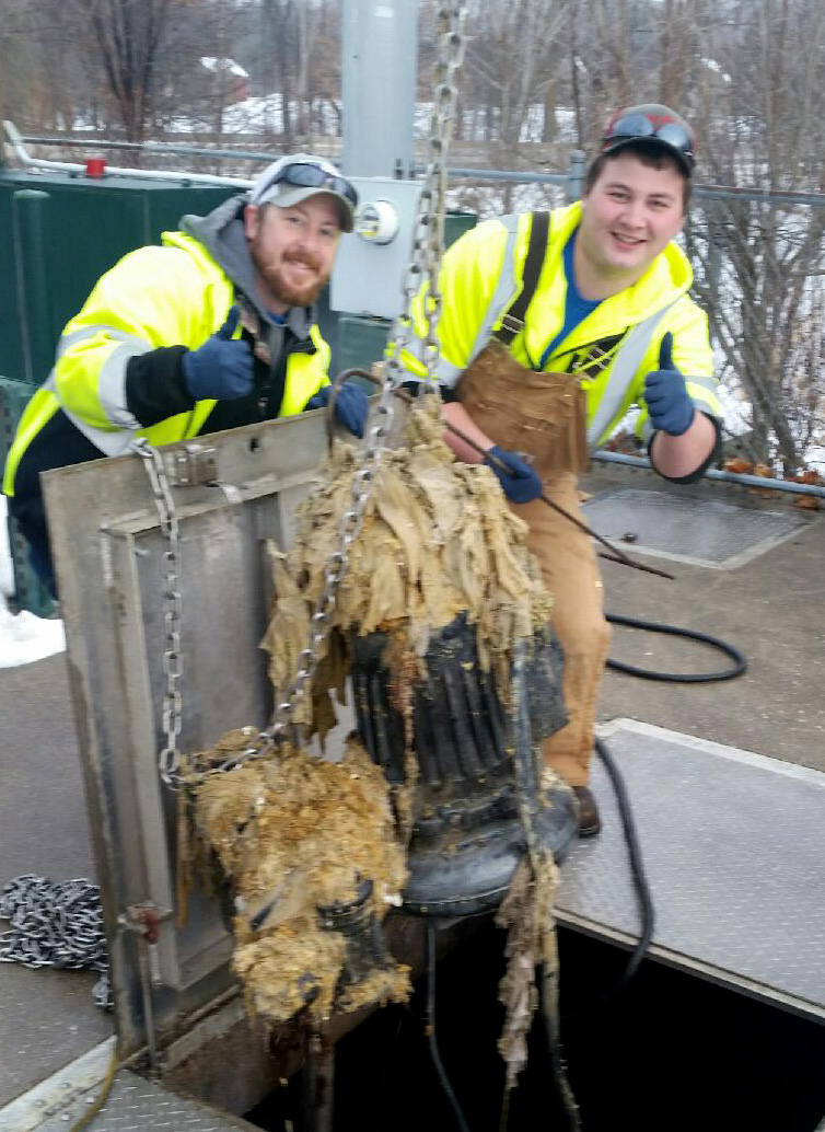 Flushable Wipes Caught in Sanitary Sewar Pump
