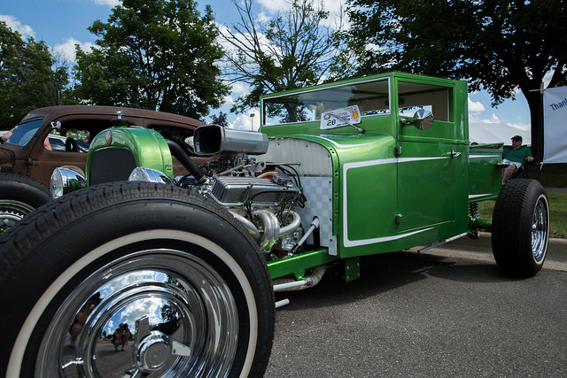 green roadster at car show