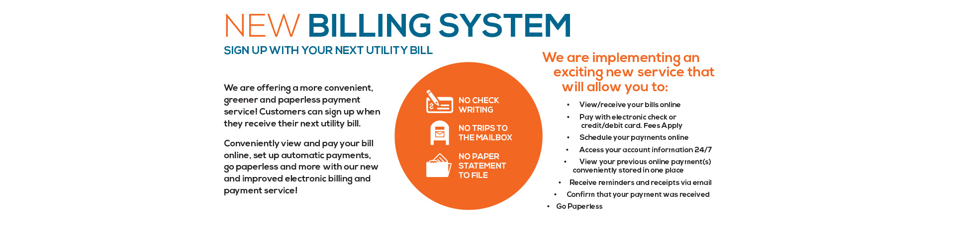 new billing system homepage banner